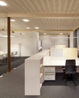 Büro in einem Holzgebäude