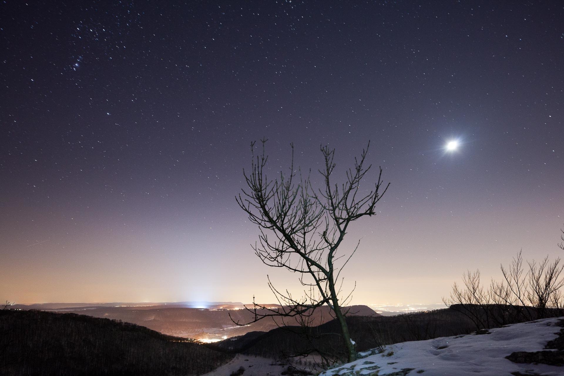 Schwäbische Alb bei Nacht