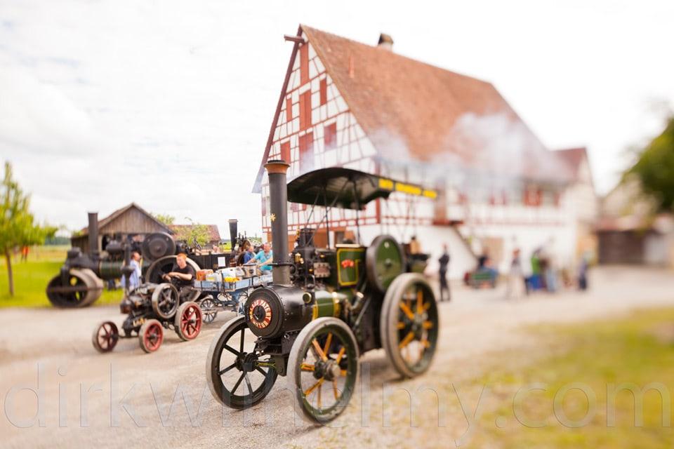 Tilt/Shift. Lokomobil Dampffest. Der Fotograf spielt mit Schärfe und Unschärfe.