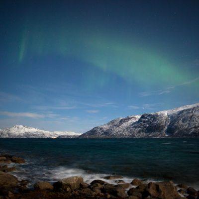Polarlicht, Arktis, Vollmond