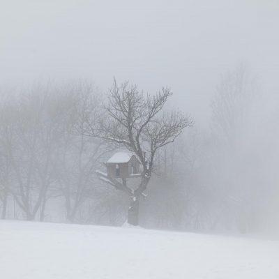 Baumhaus-Fotografie. Das Baumhaus im Schnee ist mein Sinnbild für den langen Winter